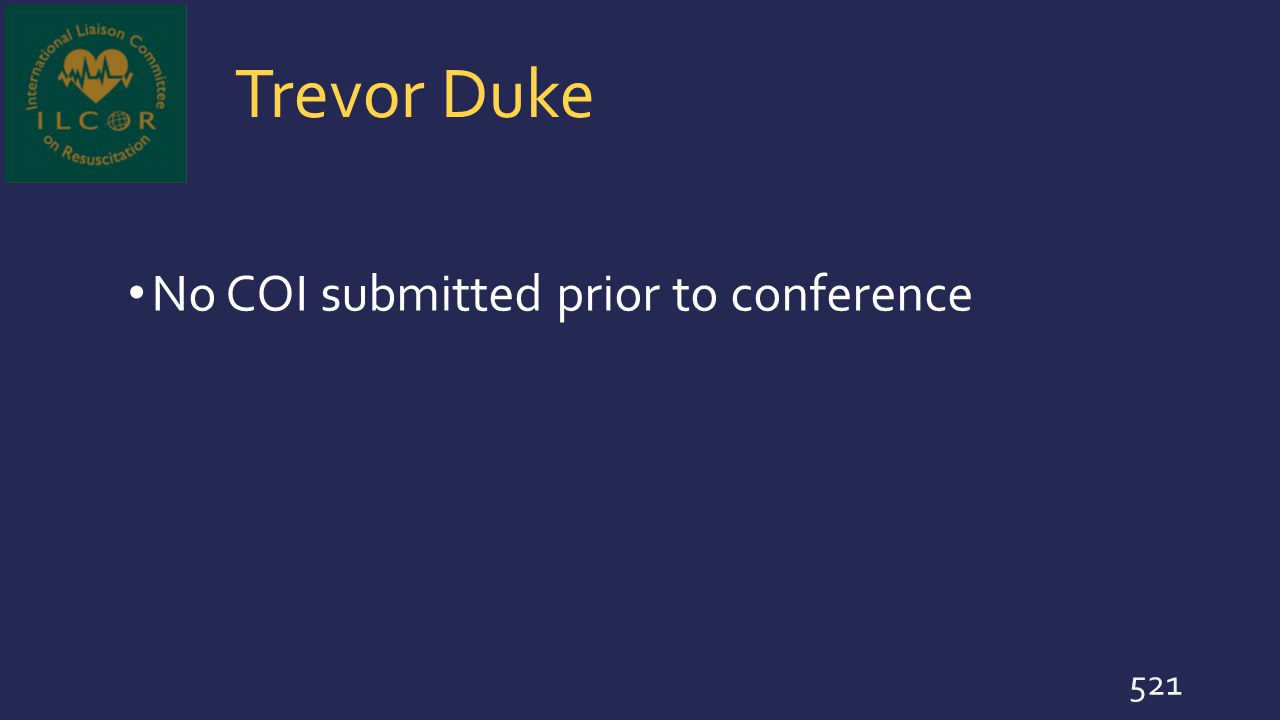 Trevor Duke No COI submitted prior to conference