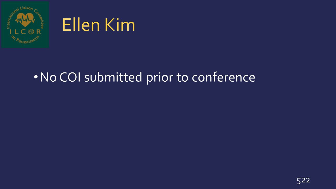 Ellen Kim No COI submitted prior to conference