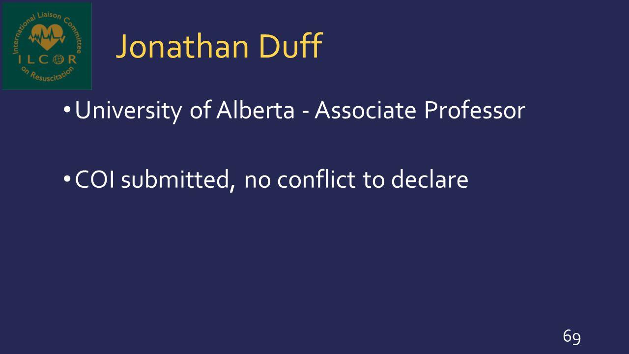 Jonathan Duff University of Alberta - Associate Professor