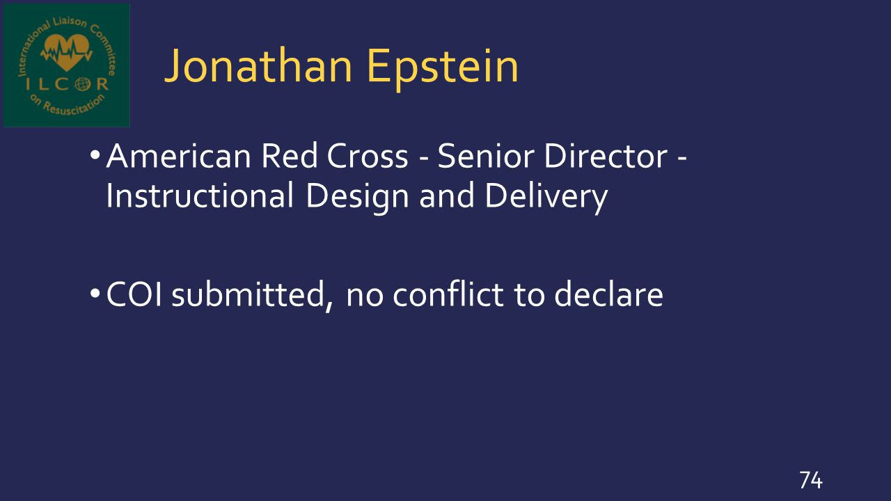 Jonathan Epstein American Red Cross - Senior Director - Instructional Design and Delivery.