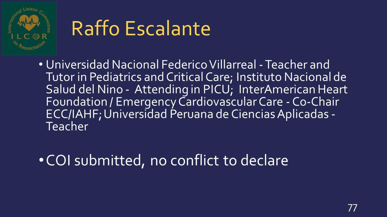 Raffo Escalante COI submitted, no conflict to declare