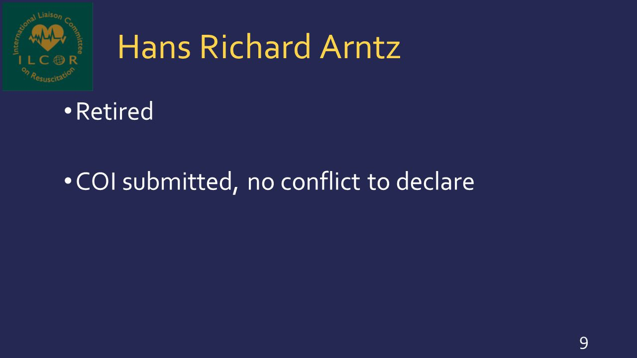 Hans Richard Arntz Retired COI submitted, no conflict to declare