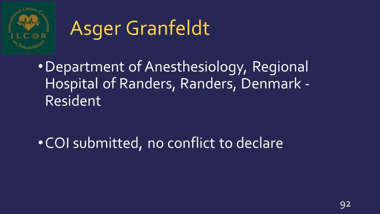 Asger Granfeldt Department of Anesthesiology, Regional Hospital of Randers, Randers, Denmark - Resident.