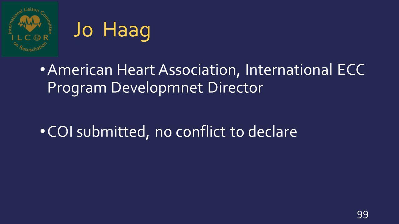 Jo Haag American Heart Association, International ECC Program Developmnet Director.