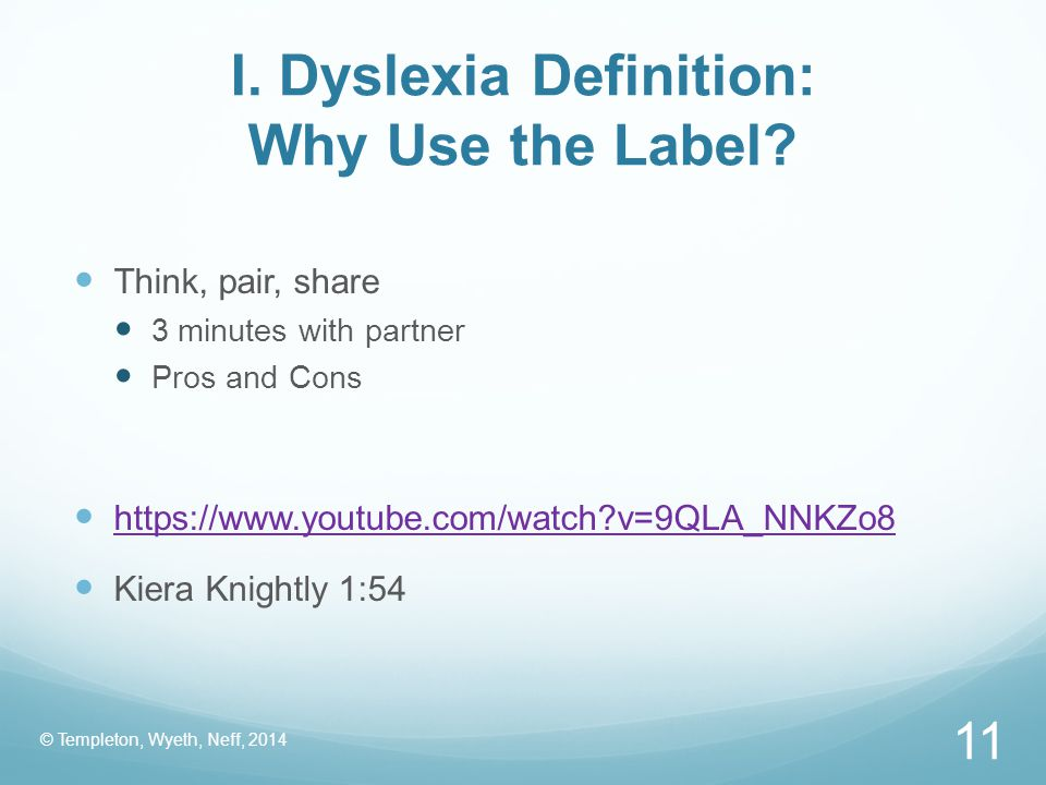 I. Dyslexia Definition: Why Use the Label