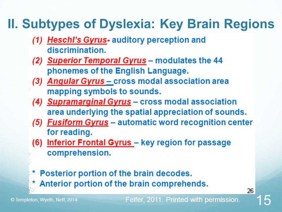 II. Subtypes of Dyslexia: Key Brain Regions