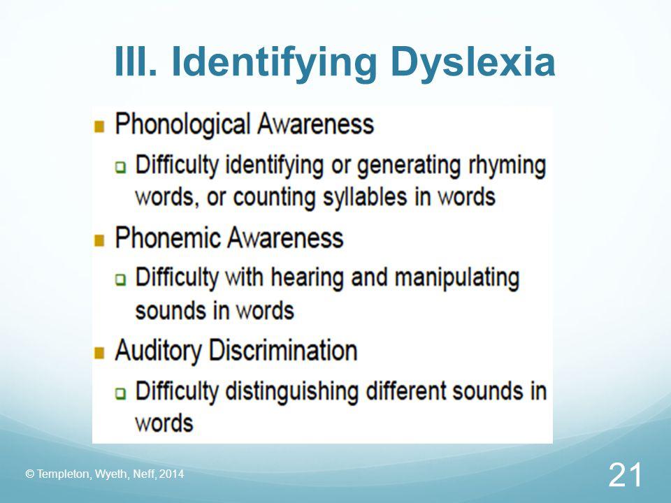 III. Identifying Dyslexia