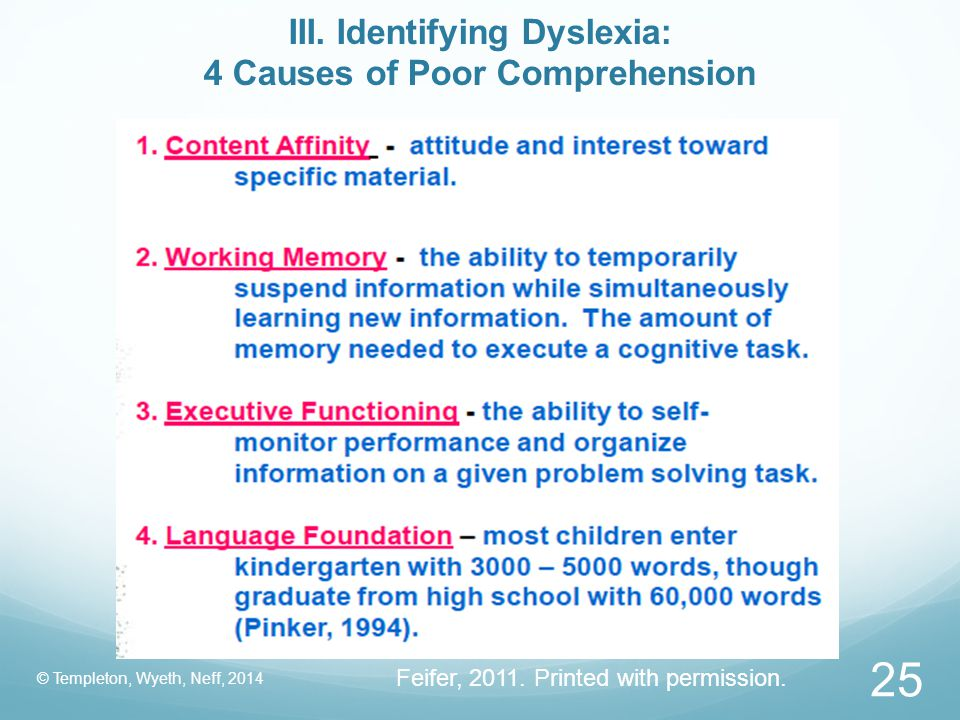 III. Identifying Dyslexia: 4 Causes of Poor Comprehension