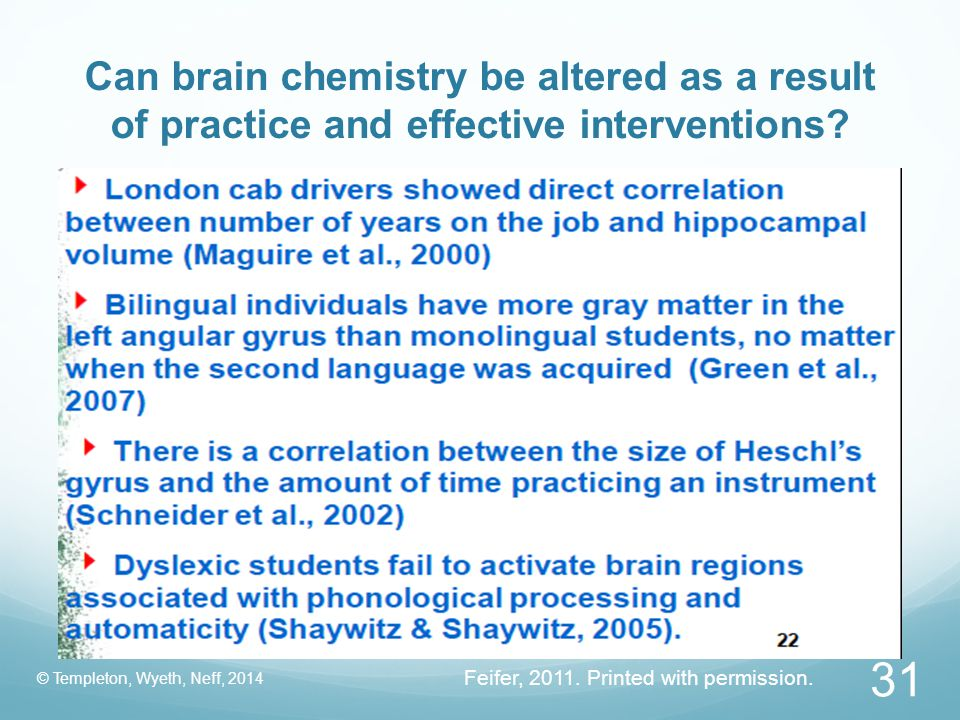 Can brain chemistry be altered as a result of practice and effective interventions