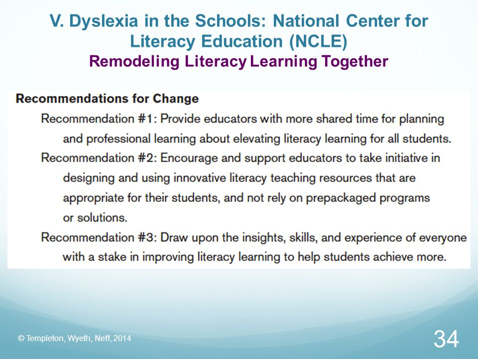 V. Dyslexia in the Schools: National Center for Literacy Education (NCLE) Remodeling Literacy Learning Together