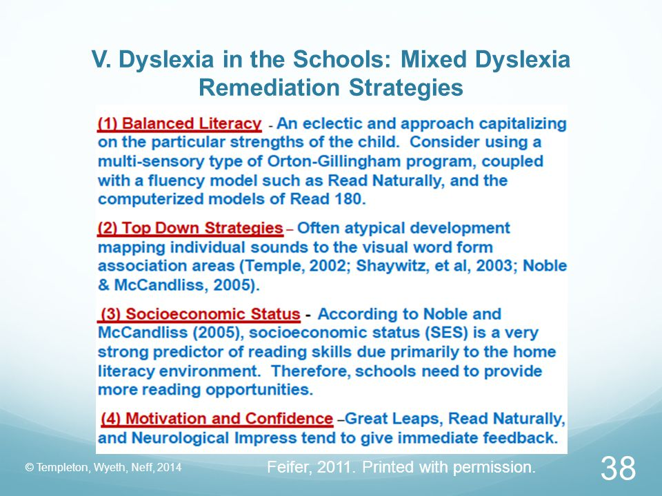 V. Dyslexia in the Schools: Mixed Dyslexia Remediation Strategies