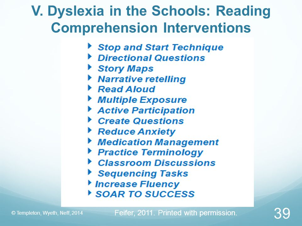V. Dyslexia in the Schools: Reading Comprehension Interventions