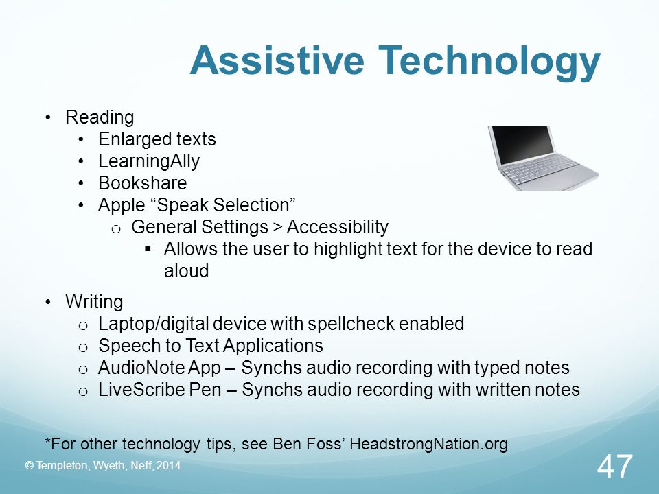 Assistive Technology Reading Enlarged texts LearningAlly Bookshare
