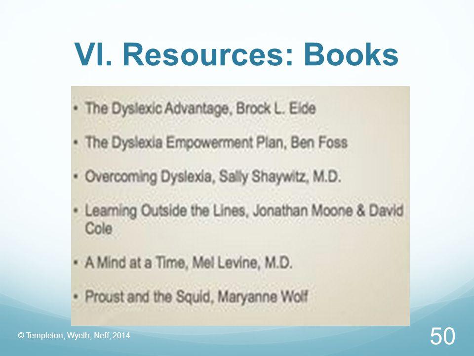 VI. Resources: Books © Templeton, Wyeth, Neff, 2014