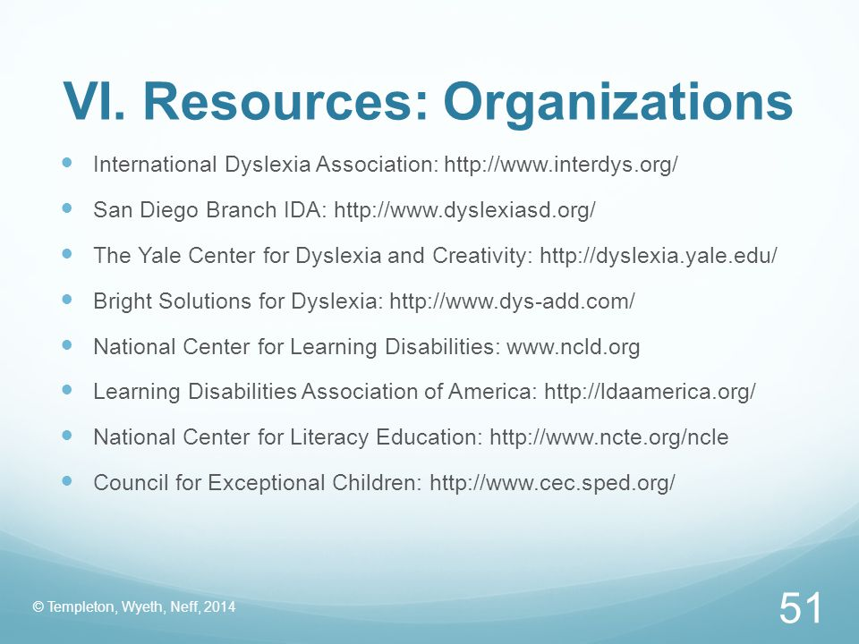 VI. Resources: Organizations