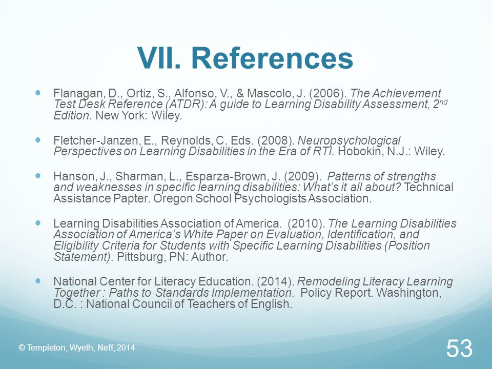 VII. References