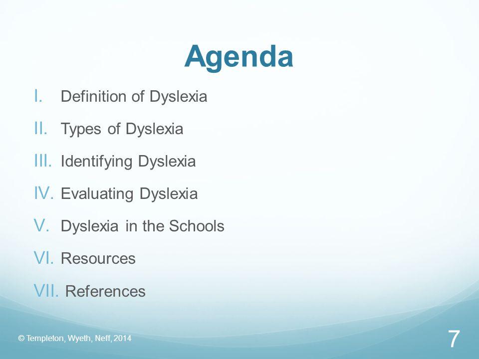 Agenda Definition of Dyslexia Types of Dyslexia Identifying Dyslexia