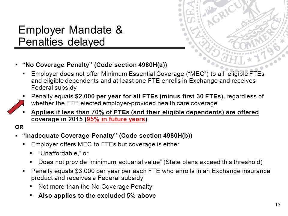Employer Mandate & Penalties delayed