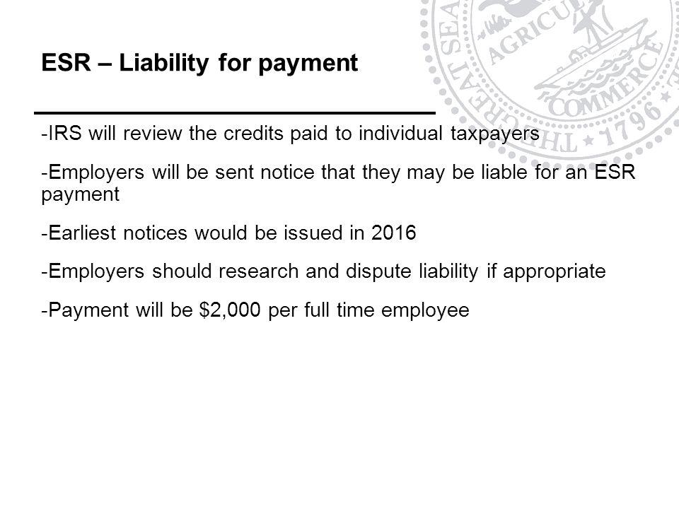 ESR – Liability for payment