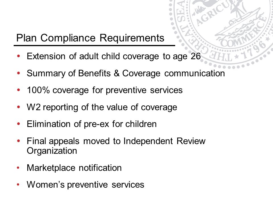 Plan Compliance Requirements