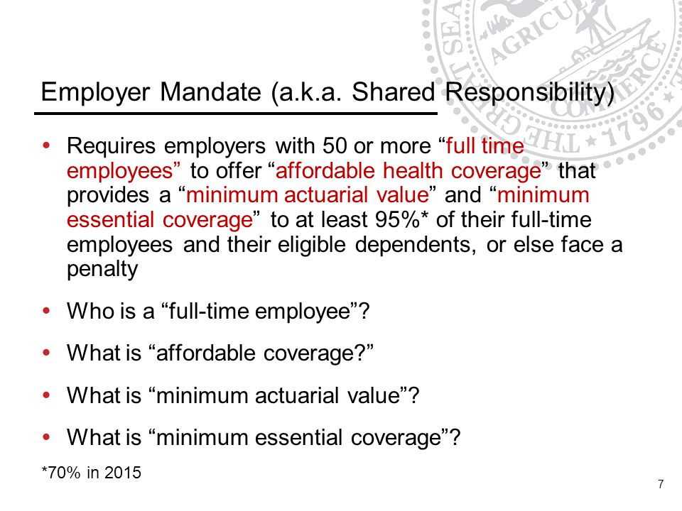 Employer Mandate (a.k.a. Shared Responsibility)