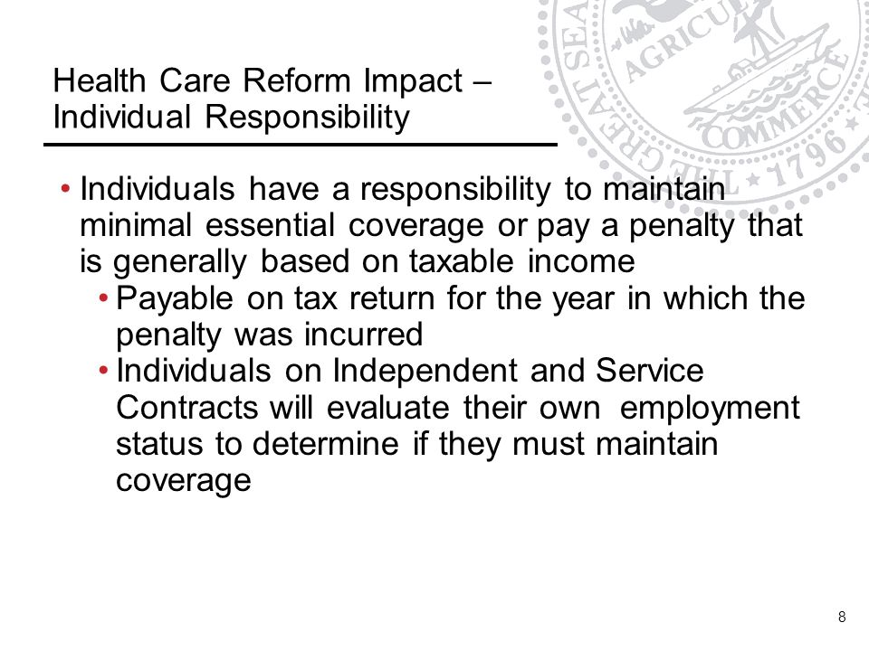 Health Care Reform Impact – Individual Responsibility