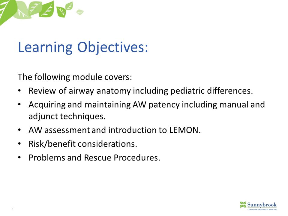 Learning Objectives: The following module covers: