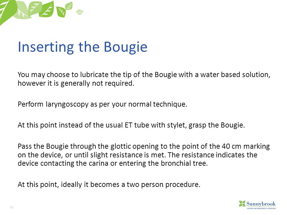 Inserting the Bougie You may choose to lubricate the tip of the Bougie with a water based solution, however it is generally not required.