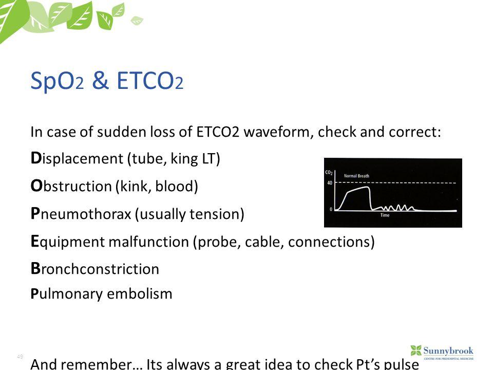 SpO2 & ETCO2 Displacement (tube, king LT) Obstruction (kink, blood)