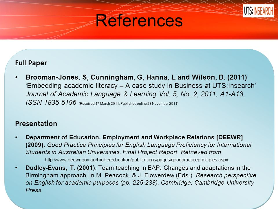 References Full Paper Presentation