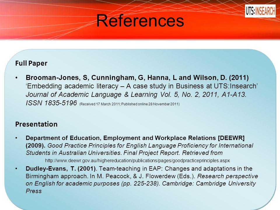 References Full Paper Presentation