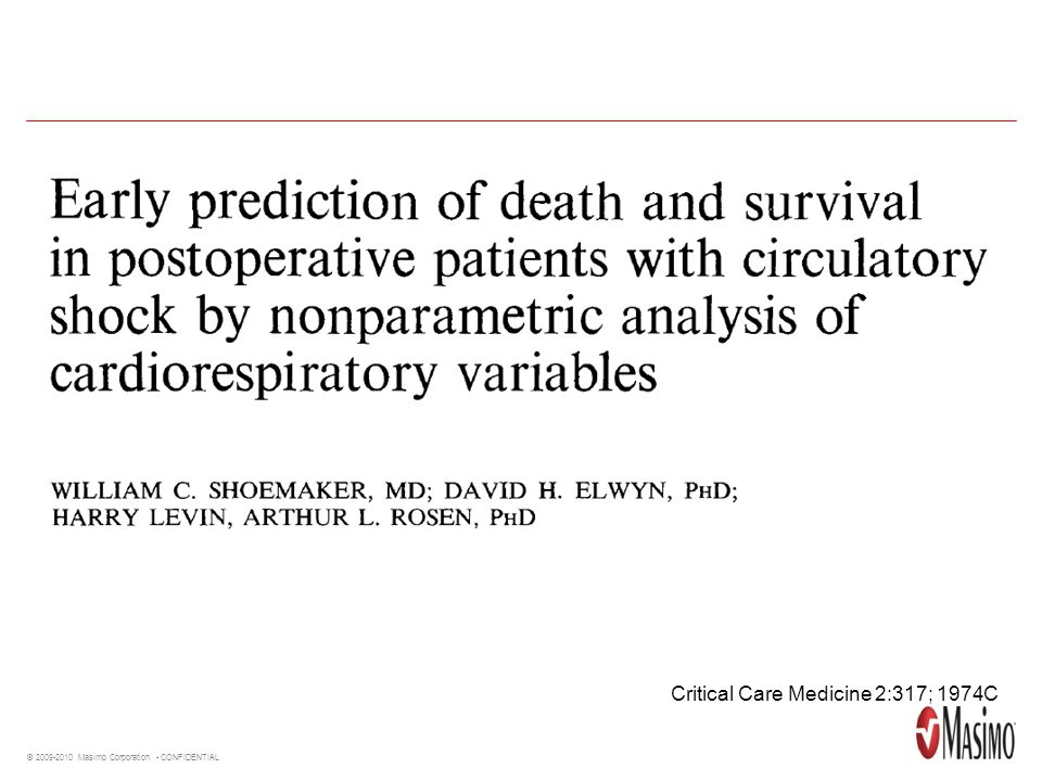 Critical Care Medicine 2:317; 1974C