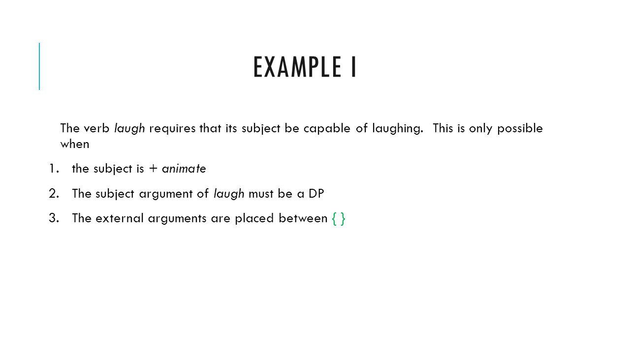 Example i The verb laugh requires that its subject be capable of laughing. This is only possible when.