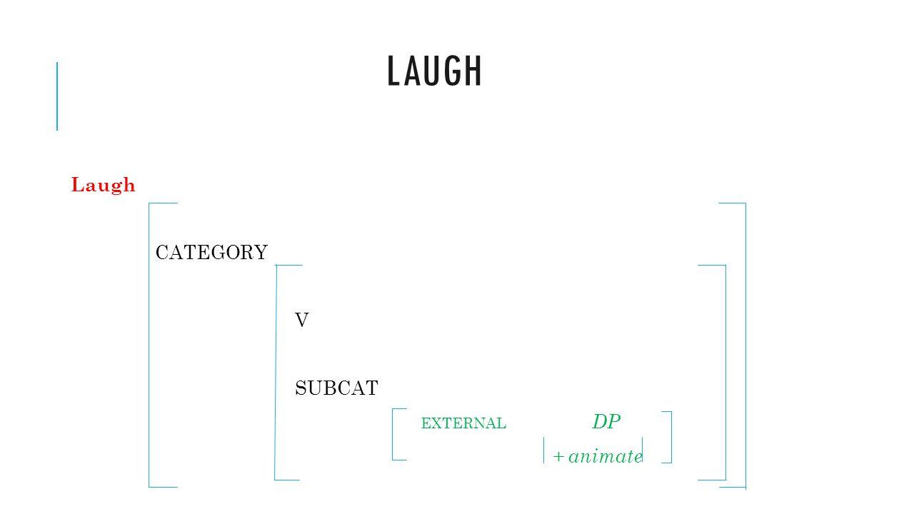 Laugh Laugh CATEGORY V SUBCAT EXTERNAL DP + animate