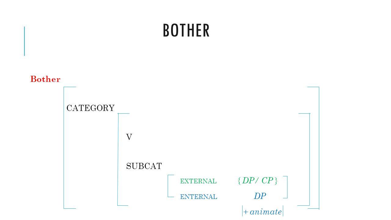Bother Bother CATEGORY V SUBCAT EXTERNAL { DP/ CP } ENTERNAL DP