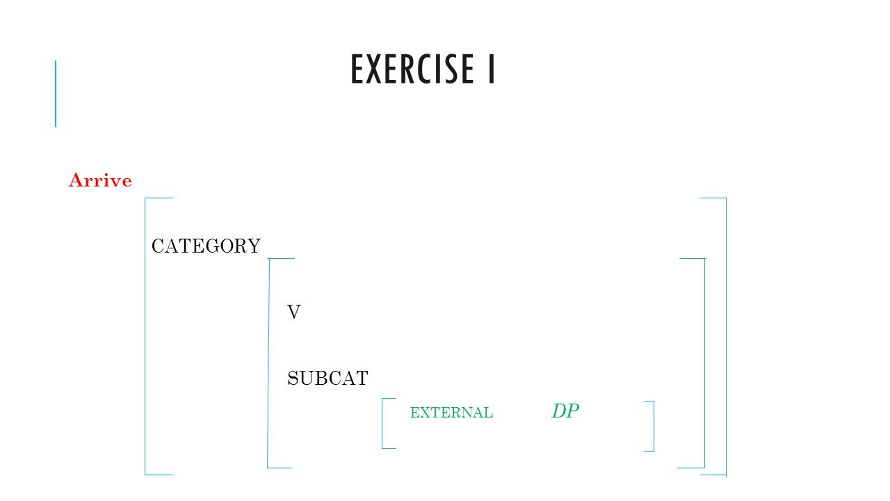 Exercise i Arrive CATEGORY V SUBCAT EXTERNAL DP
