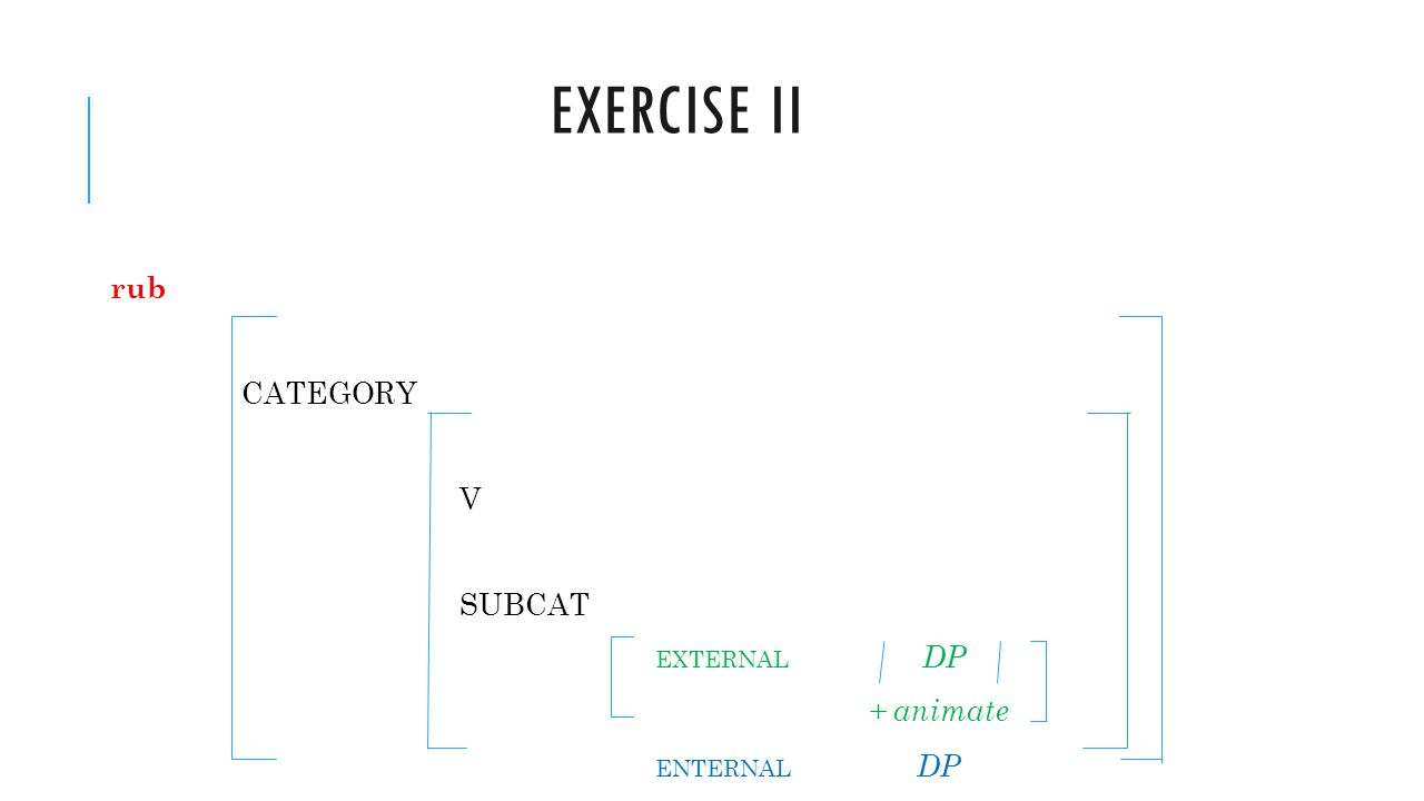 Exercise ii rub CATEGORY V SUBCAT EXTERNAL DP + animate ENTERNAL DP