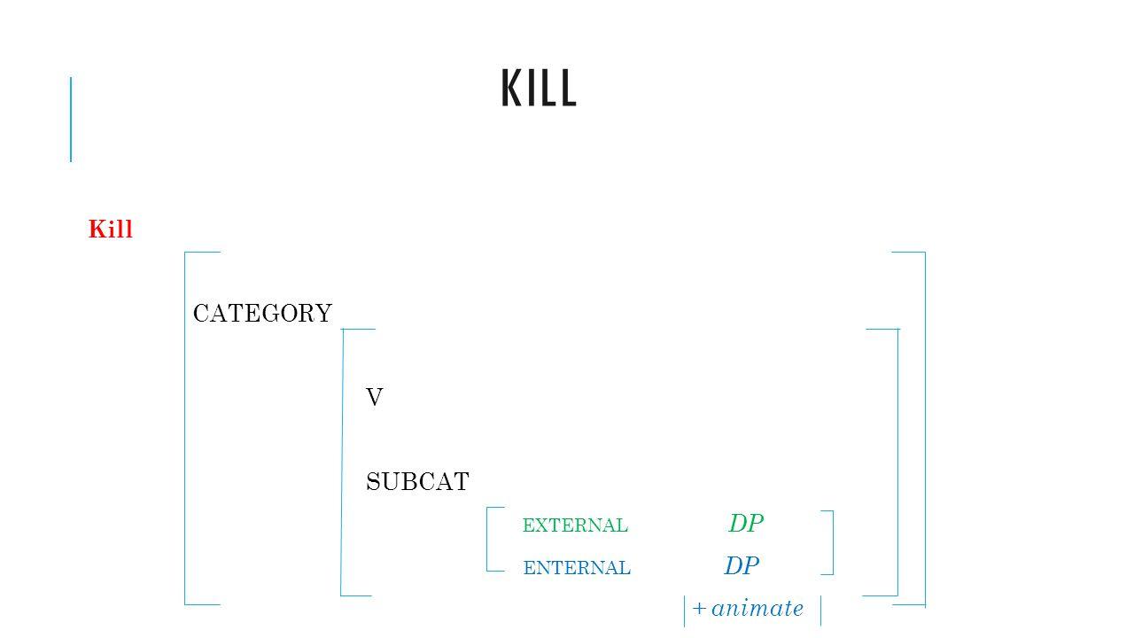 KILL Kill CATEGORY V SUBCAT EXTERNAL DP ENTERNAL DP + animate