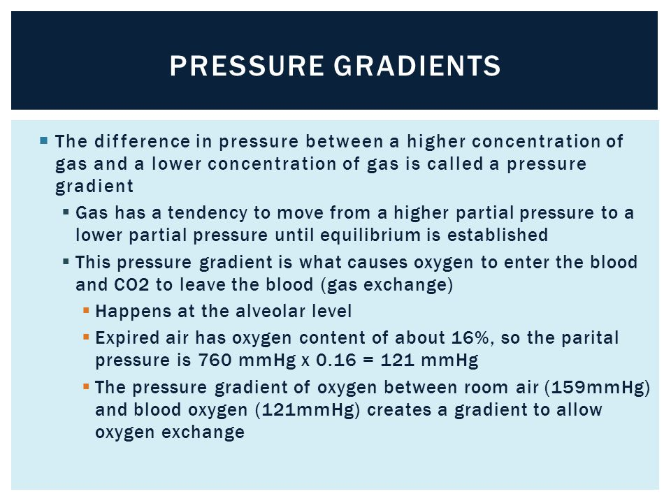 Pressure Gradients The difference in pressure between a higher concentration of gas and a lower concentration of gas is called a pressure gradient.