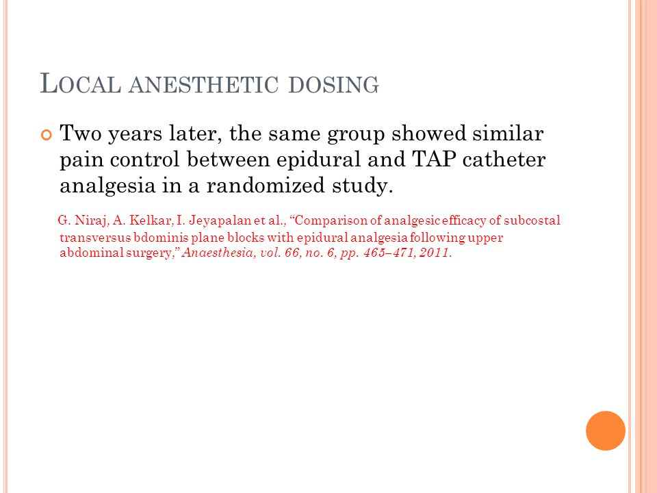 Local anesthetic dosing
