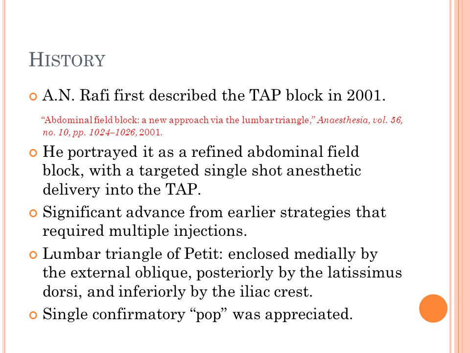 History A.N. Rafi first described the TAP block in 2001.