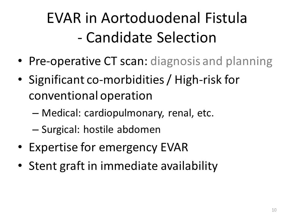 EVAR in Aortoduodenal Fistula - Candidate Selection