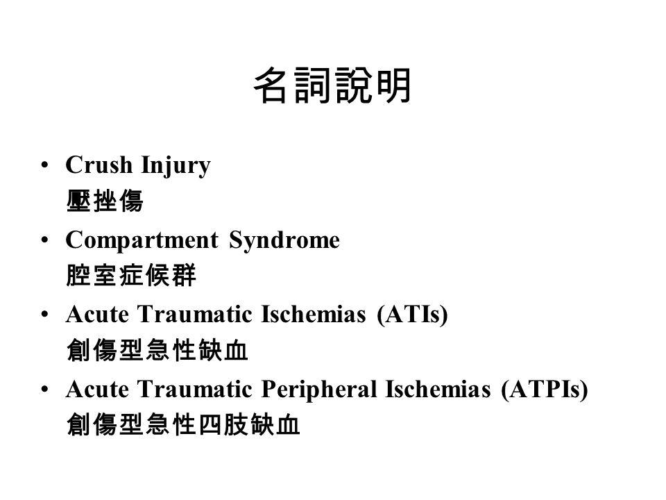 名詞說明 Crush Injury 壓挫傷 Compartment Syndrome 腔室症候群