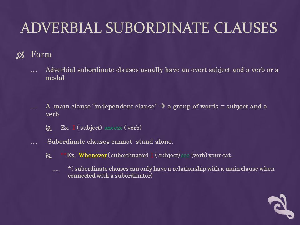 adverbial subordinate clauses
