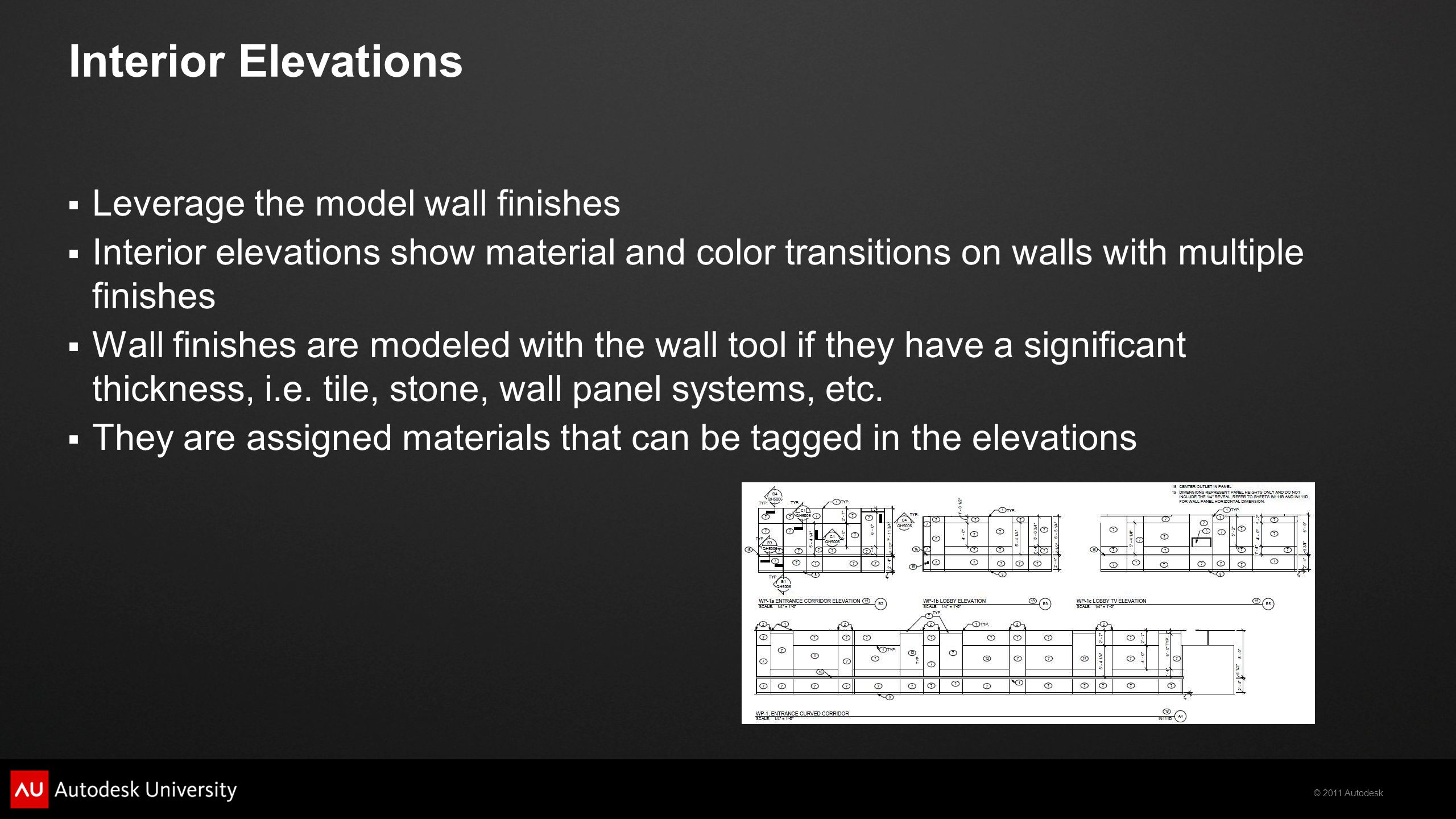 Interior Elevations Leverage the model wall finishes