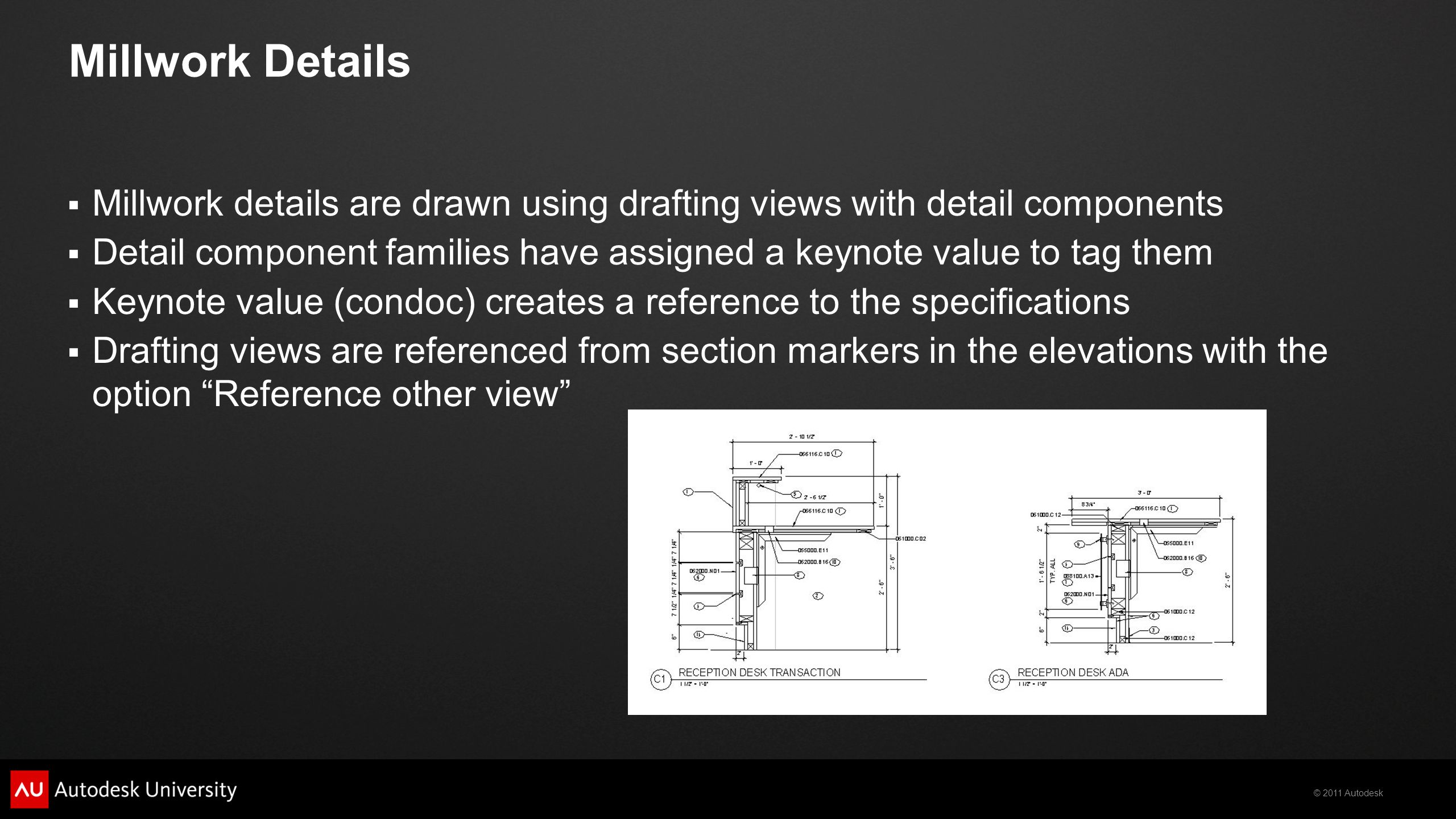 Millwork Details Millwork details are drawn using drafting views with detail components.