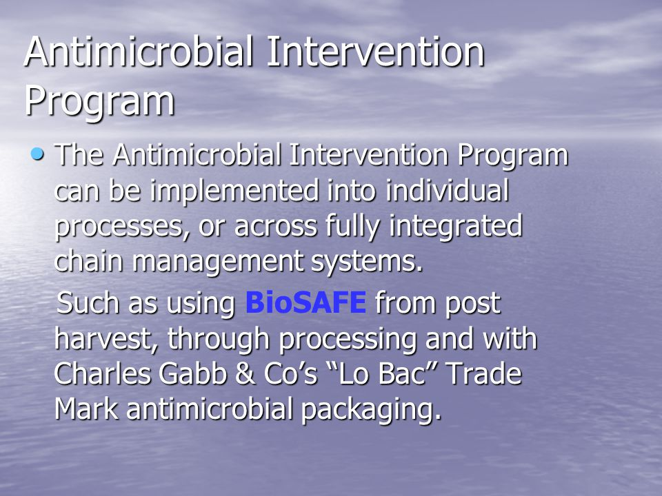 Antimicrobial Intervention Program