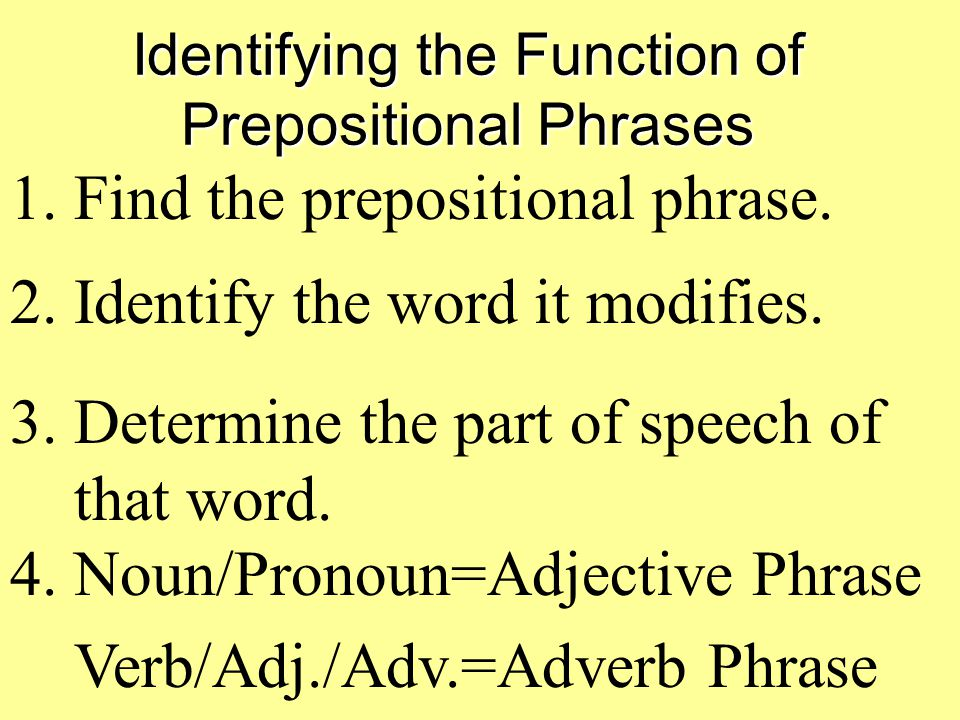 Identifying the Function of Prepositional Phrases