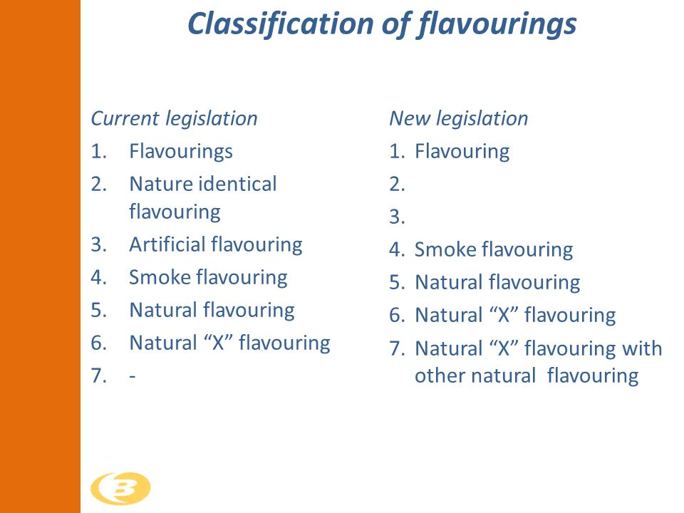 Classification of flavourings