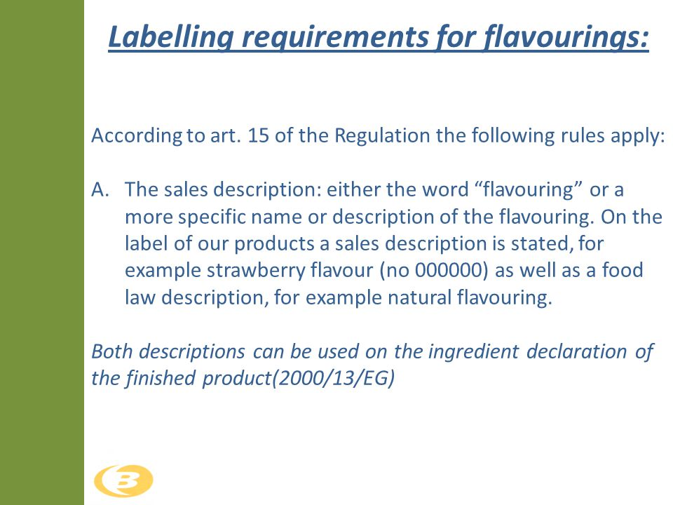 Labelling requirements for flavourings: